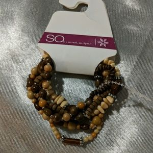 Wood and bead stretch bracelet set browns